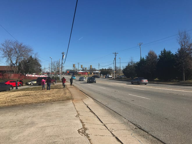 The scene near Carolina High School where police are investigating a threat.