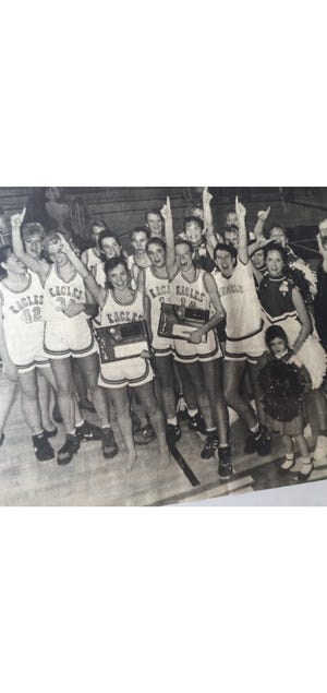 The Fairfield Eagles celebrate a District 1B championship 30 years ago.
