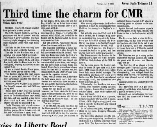 The CMR Rustlers won their first state championship in 1975.