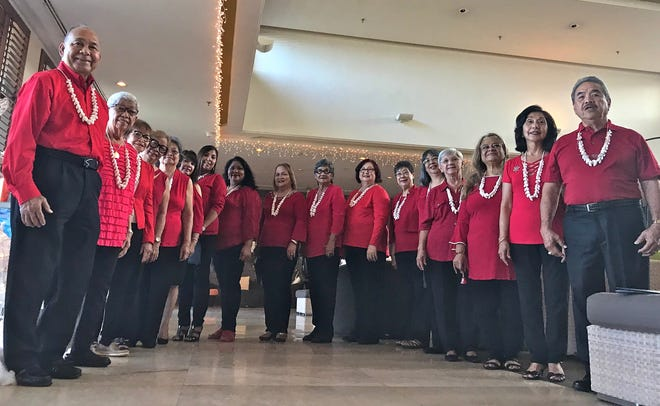 The Guam Sunshine Lions Club members helped spread Christmas cheer with their rendition of Christmas carols at the Pacific Star Hotel on Dec. 14.  Pictured from left: Lions Pete Babauta, Jovie Mejorada, Sid Weedin, Jill Pangelinan, Dot Leon Guerrero, Julie LeBreton, Tish Tano, Lorraine Rivera, Julie Cruz, Josephine Borja, Doris Limtiaco, Marietta Camacho, Annie Artero, Helen Mendiola, LouJean Borja, Linda Villagomez, and John Villagomez (Guam Tano-Ta Branch Club).