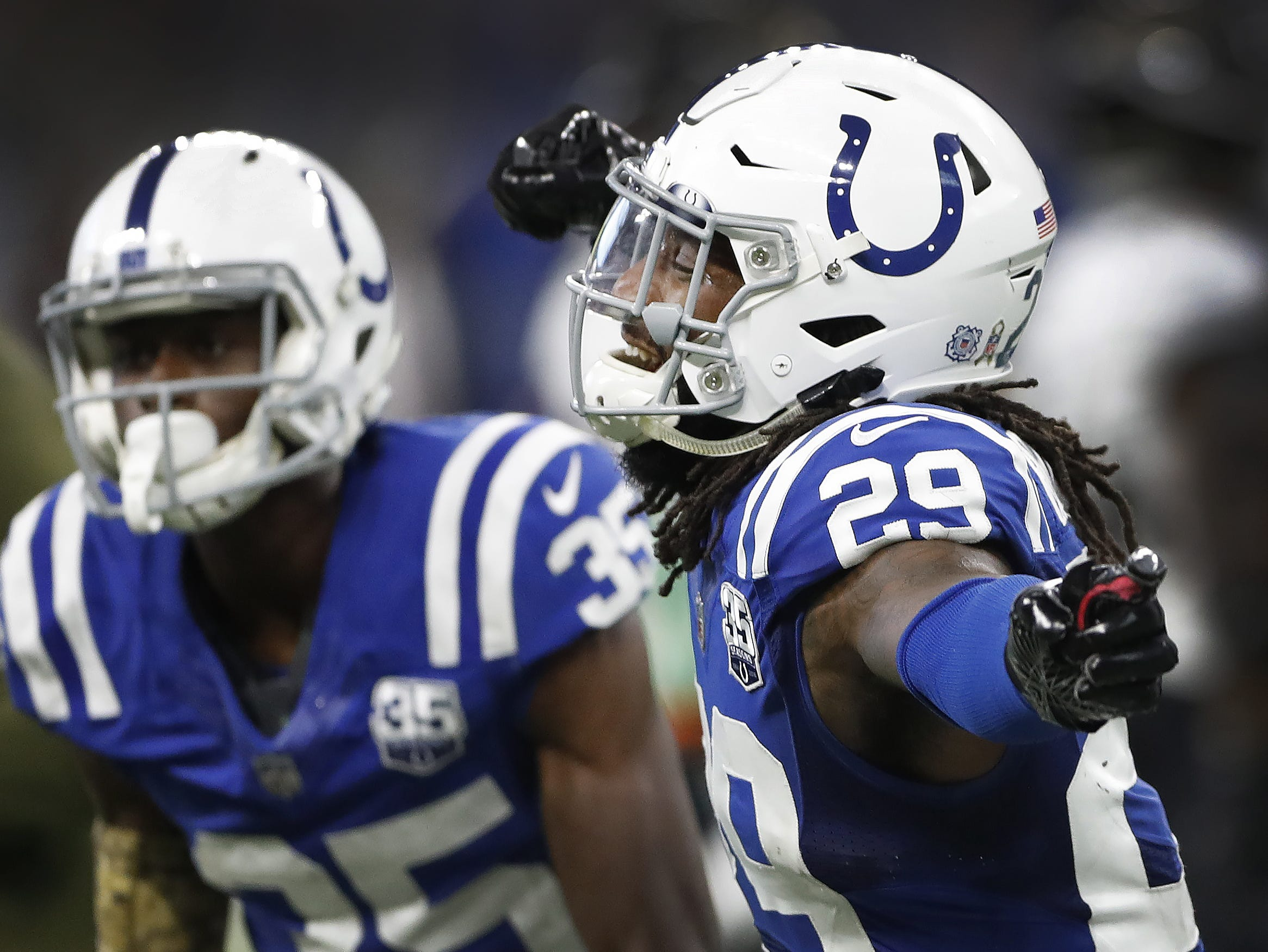 Indianapolis Colts free safety Malik Hooker (29) celebrates the officials ruling of a Jaguars fumble in the final minutes of the fourth quarter of their game at Lucas Oil Stadium on Sunday, Nov. 11, 2018. The Colts defeated the Jaguars 29-26.