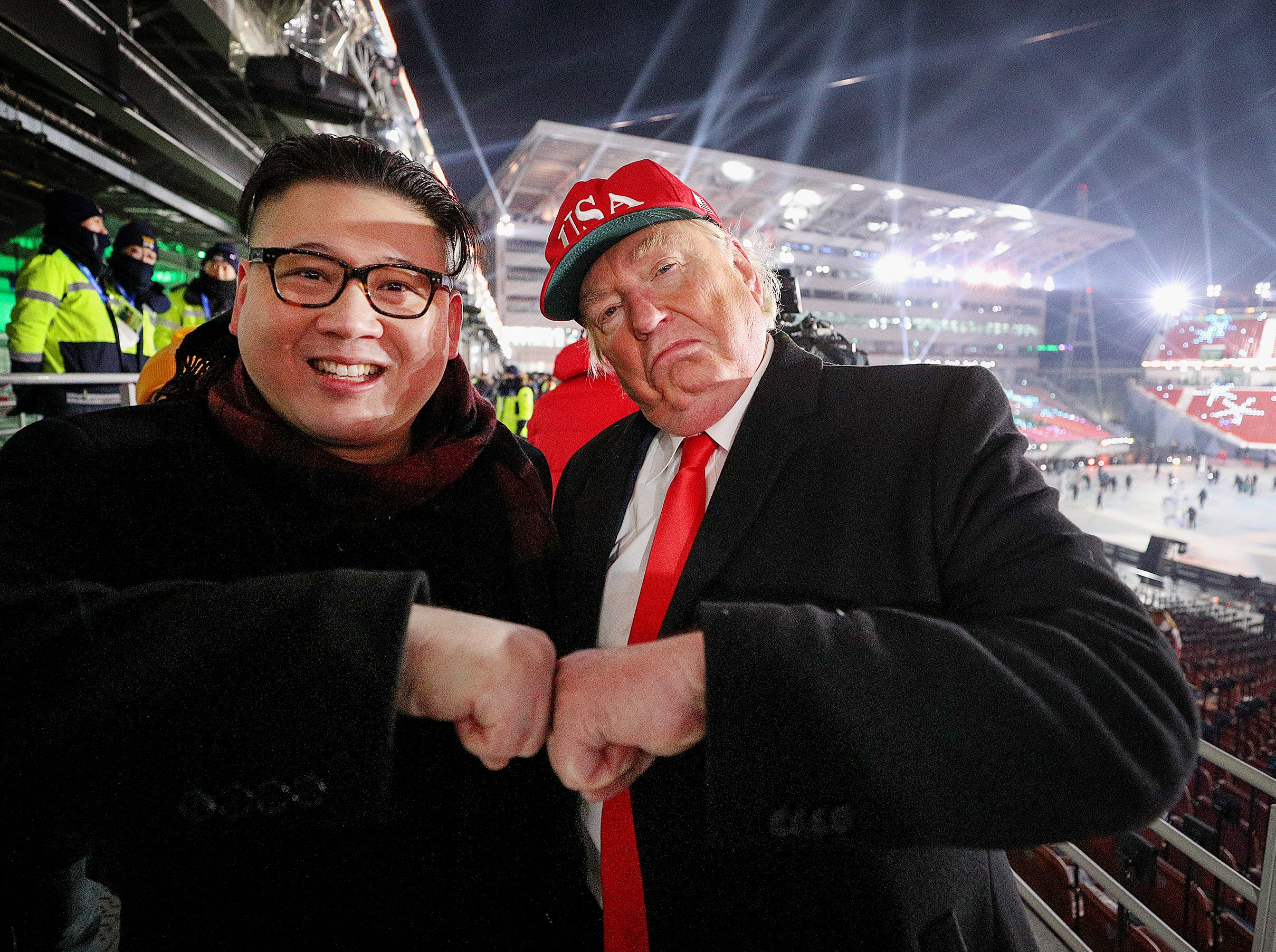 Feb 9, 2018; Pyeongchang, South Korea; A Donald Trump and Kim Jong-un impersonators at the opening ceremonies at the Pyeongchang 2018 Olympic Winter Games at Pyeongchang Olympic Stadium. Mandatory Credit: Matt Kryger-USA TODAY Sports