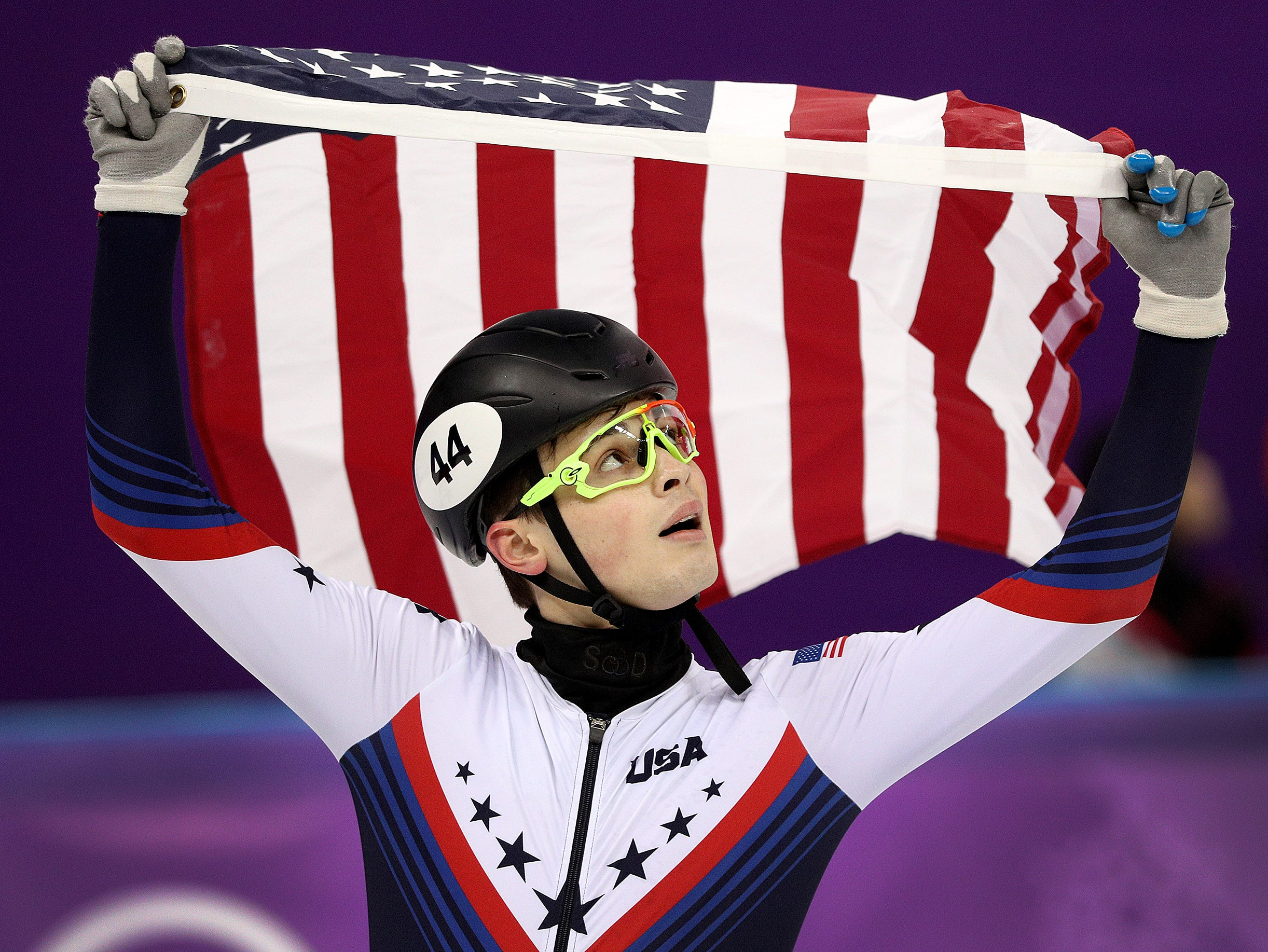 Feb 17, 2018; Pyeongchang, South Korea; John-Henry Krueger (USA) celebrates his silver medal performance in the Men's 1,000m short track speed skating during the Pyeongchang 2018 Olympic Winter Games at Gangneung Ice Arena. Mandatory Credit: Matt Kryger-USA TODAY Sports