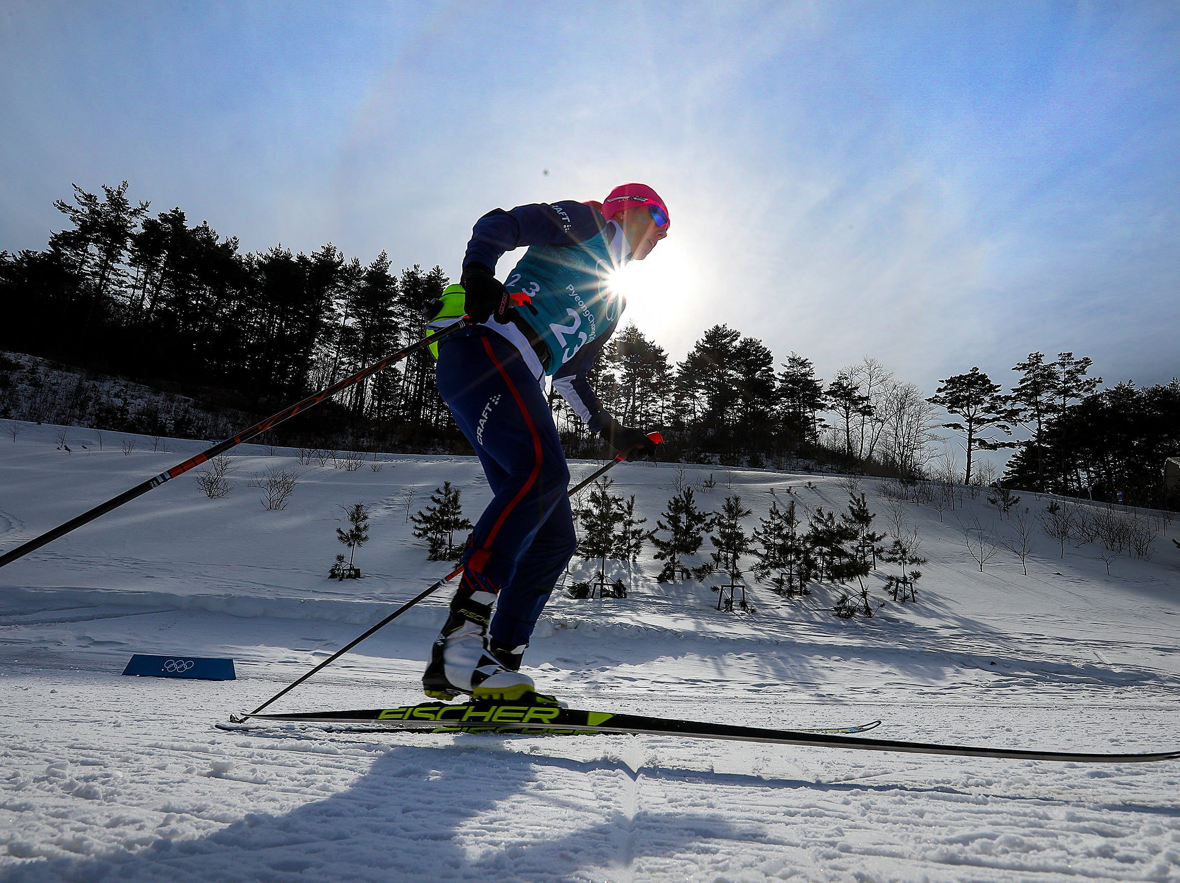 Feb 15, 2018; Pyeongchang, South Korea; Team USA's Kikkan Randall works her way up the hill during the Pyeongchang 2018 Olympic Winter Games at Alpensia Cross-Country Centre. Mandatory Credit: Matt Kryger-USA TODAY Sports