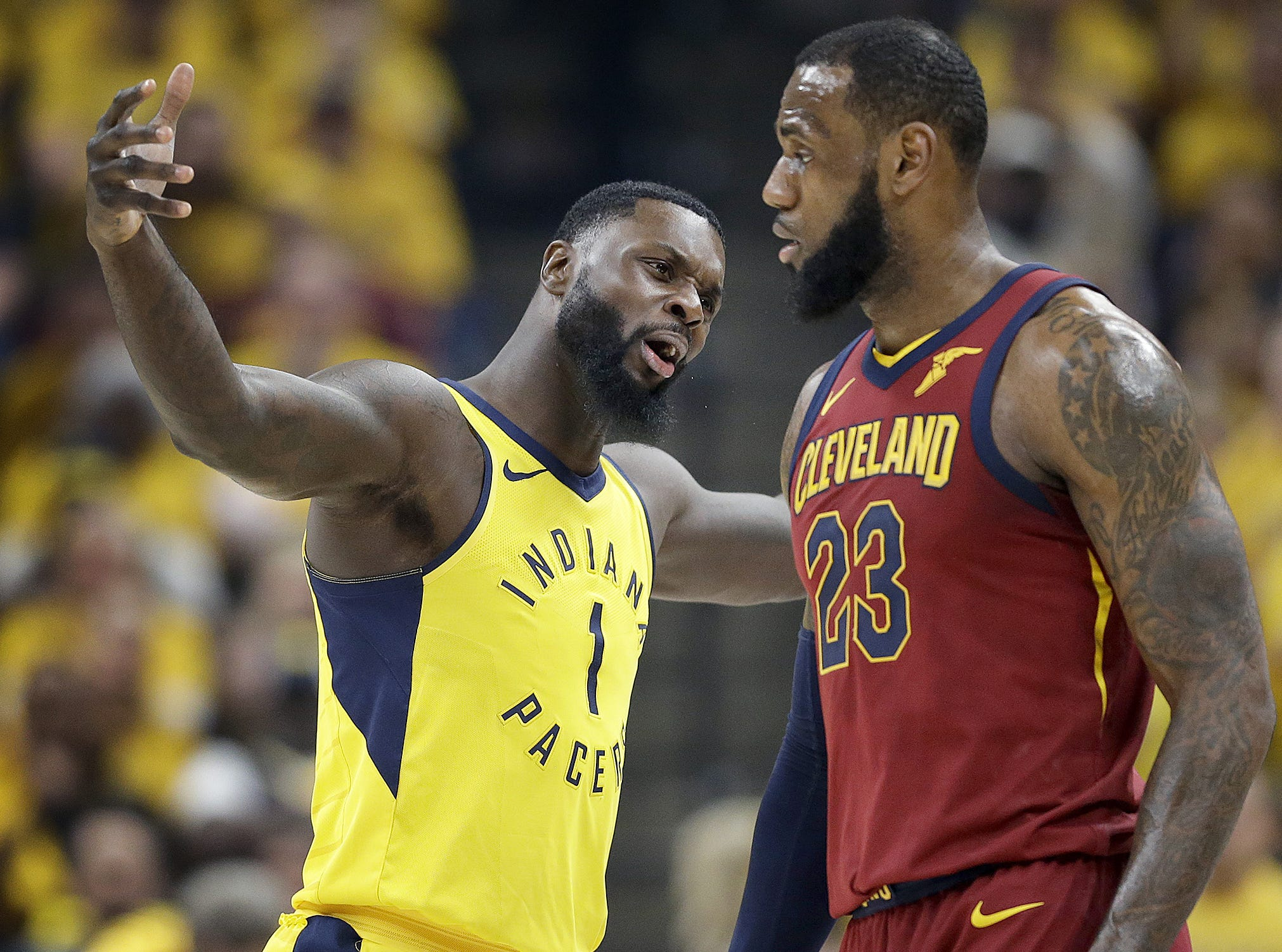 Indiana Pacers guard Lance Stephenson (1) argues a foul call he got on Cleveland Cavaliers forward LeBron James (23) during the first half of Game 6 at Bankers Life Fieldhouse on Friday, April 27, 2018.