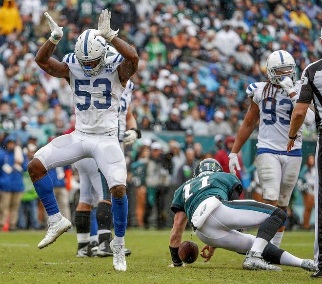 Indianapolis Colts linebacker Darius Leonard (53) celebrates a sack on Philadelphia Eagles quarterback Carson Wentz (11) at Lincoln Financial Field in Philadelphia, on Sunday, Sept. 23, 2018.