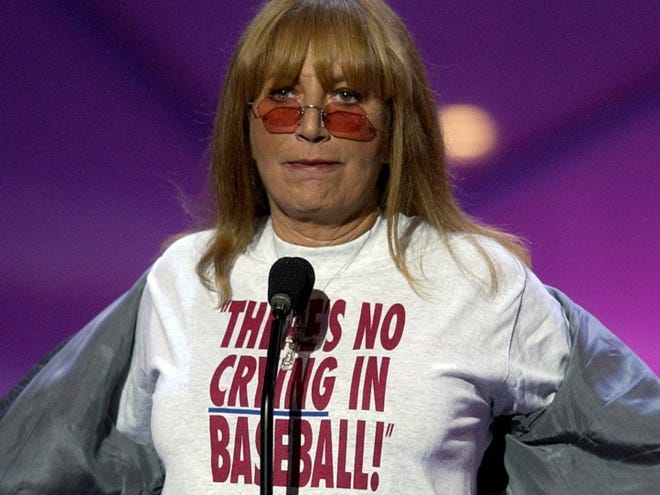 """Penny Marshall displays a """"There's no crying in baseball!"""" T-shirt to commemorate """"A League of Their Own"""" at the 2002 Espy Awards."""