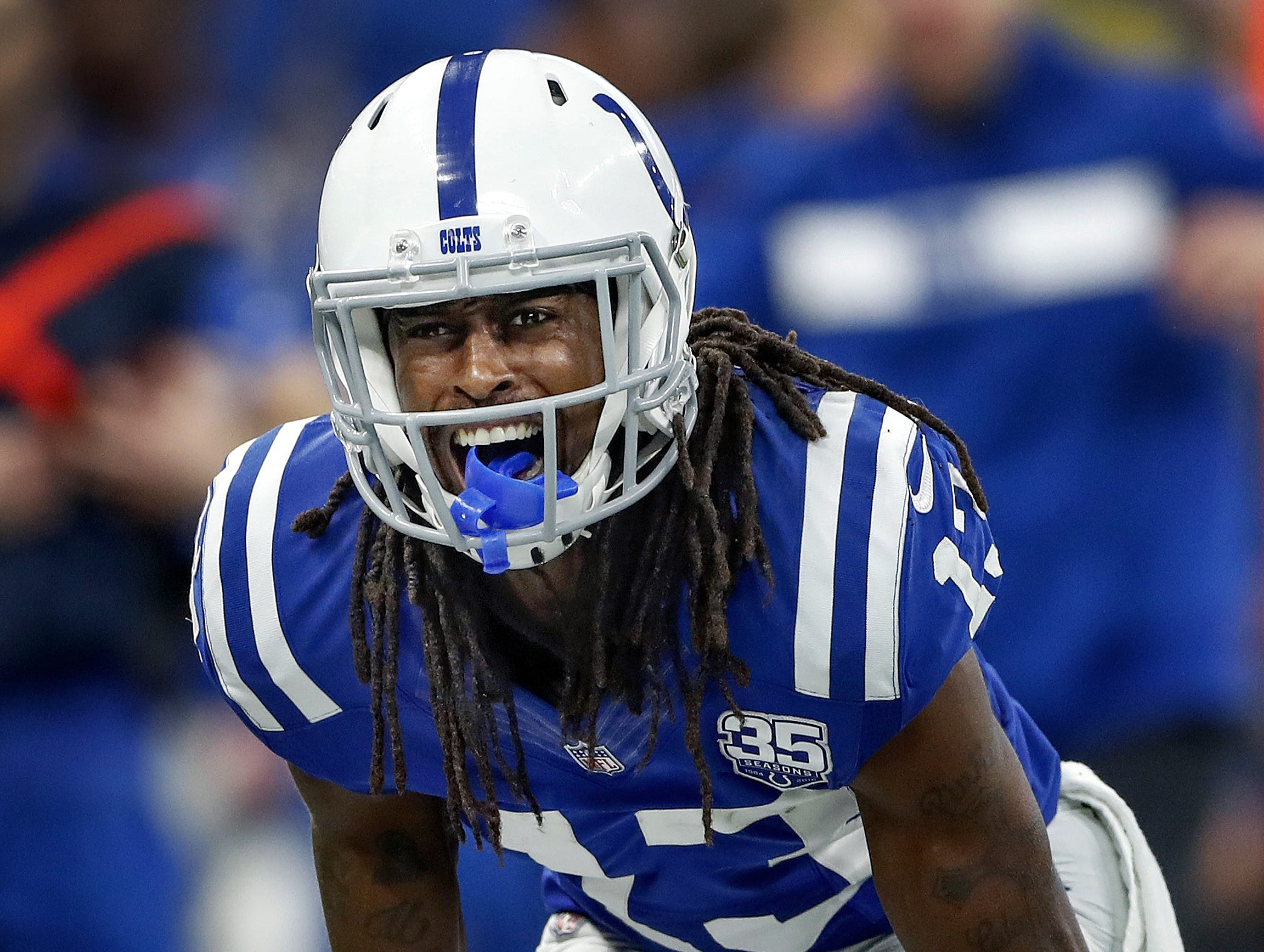 "Indianapolis Colts wide receiver T.Y. Hilton (13) not happy with a ""no-call"" from the officials in the first half of their game at Lucas Oil Stadium on Sunday, Dec. 16, 2018."