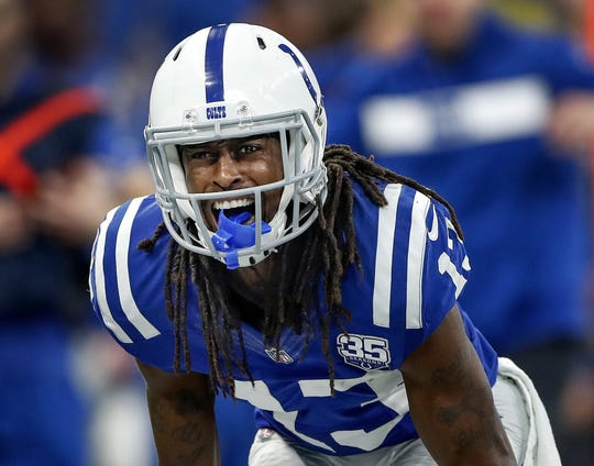"""Indianapolis Colts wide receiver T.Y. Hilton (13) not happy with a """"no-call"""" from the officials in the first half of their game at Lucas Oil Stadium on Sunday, Dec. 16, 2018."""