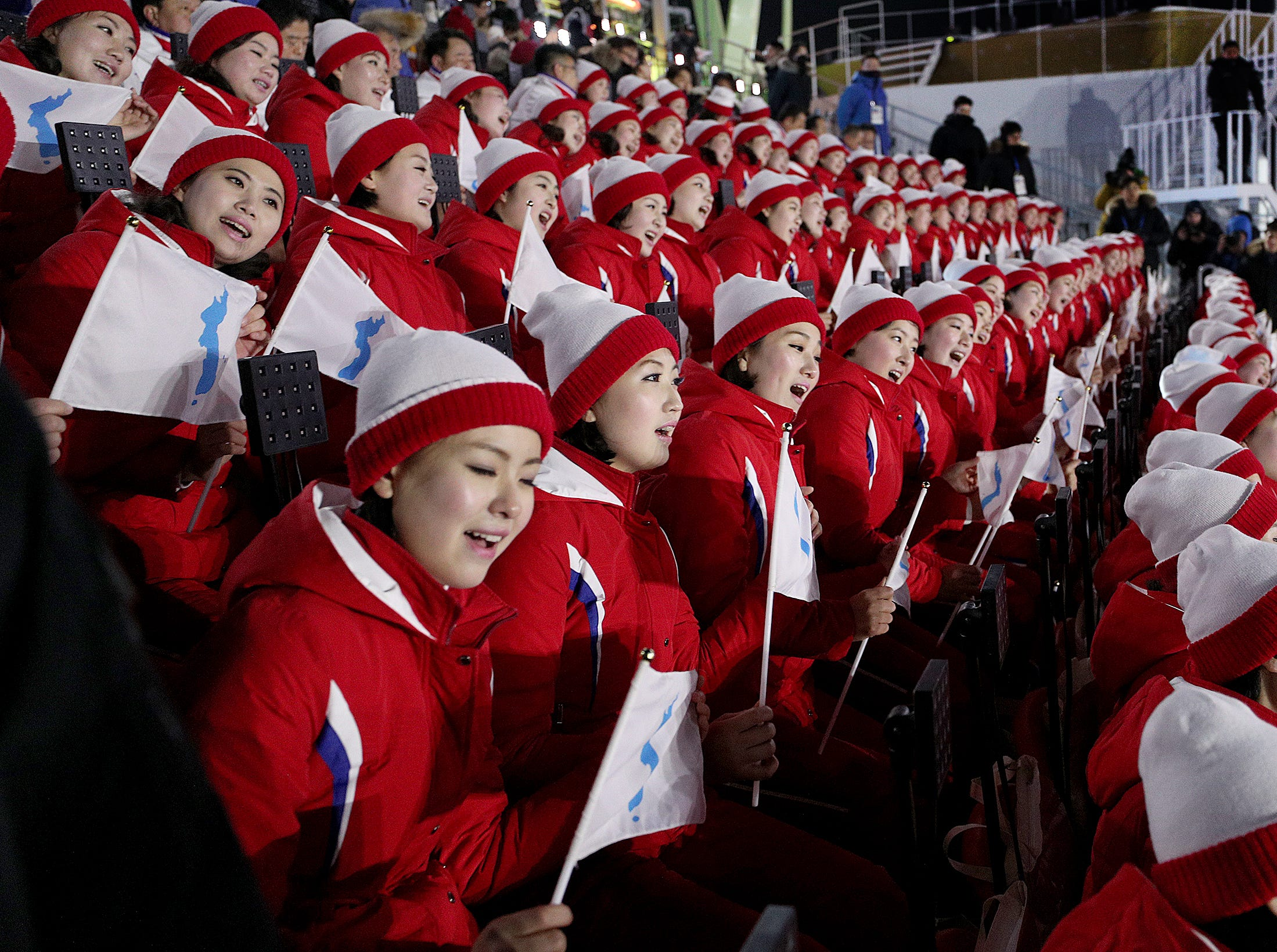 Feb 9, 2018; Pyeongchang, South Korea; North Korean cheerleaders at the opening ceremonies at the Pyeongchang 2018 Olympic Winter Games at Pyeongchang Olympic Stadium. Mandatory Credit: Matt Kryger-USA TODAY Sports
