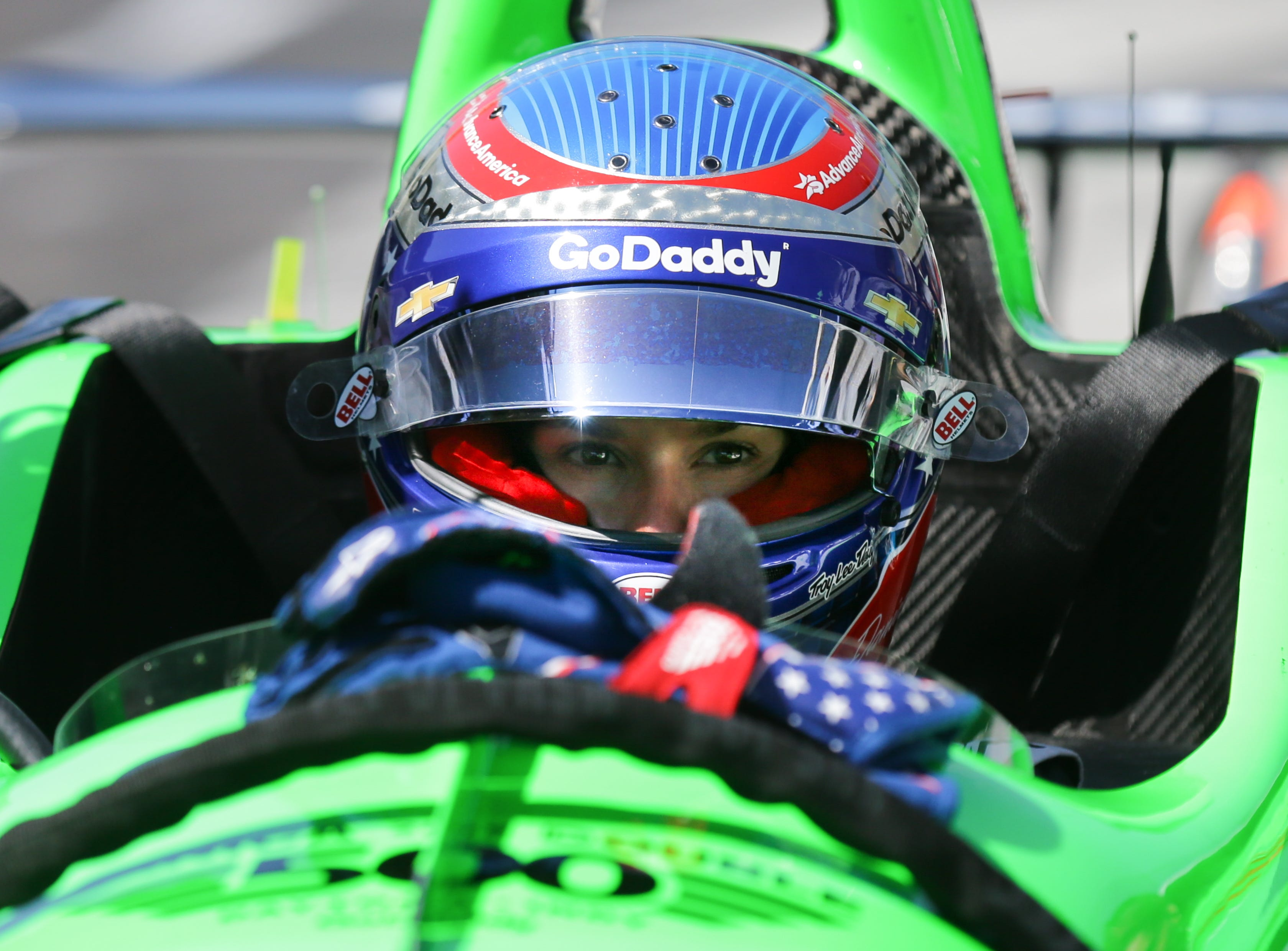IndyCar driver Danica Patrick puts waits in her car during veteran refresher testing for the Indy 500 at the Indianapolis Motor Speedway on Tuesday, May 1, 2018.
