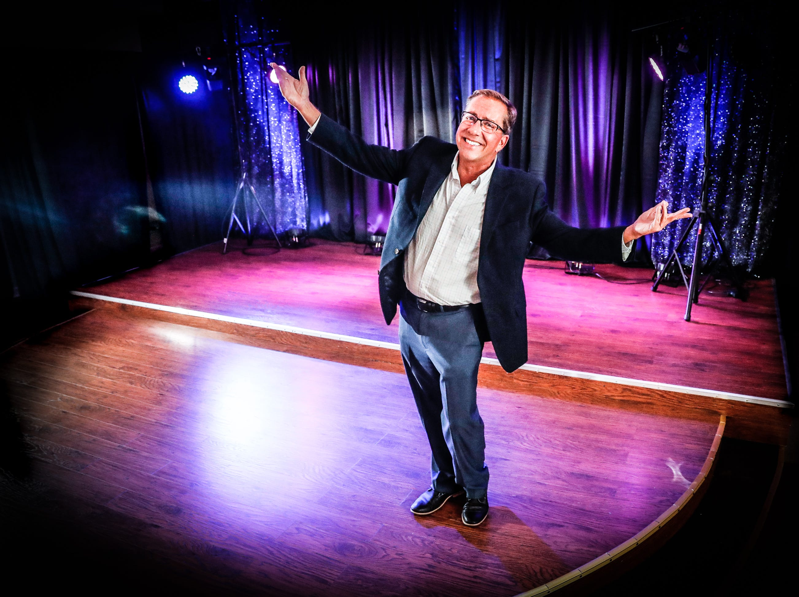 Christopher Tompkins, Executive Director for Stage To Screen's Catered Cabaret Theatre, 305 S. Madison Ave., stands on stage in the newly created venue in Greenwood on Tuesday, Aug. 14, 2018. Stage To Screen Studios focuses on educational development, professional training, performance opportunities, and honing artistic skills.
