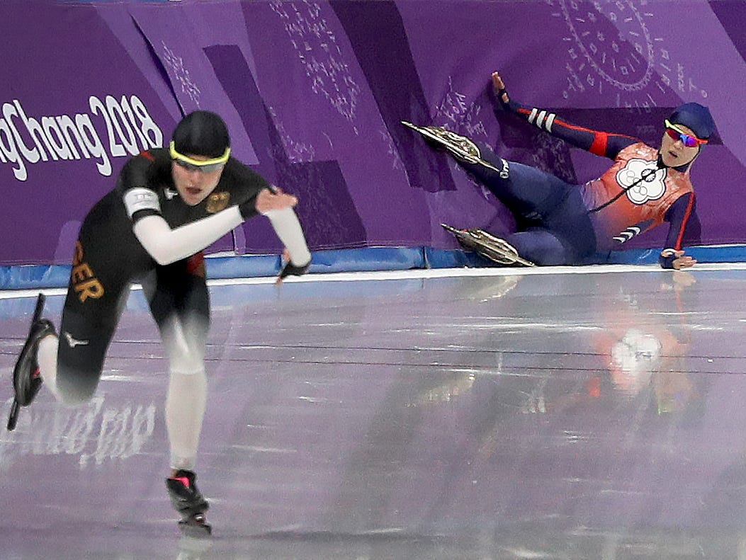 Feb 12, 2018; Pyeongchang, South Korea; Taiwanese ice skater, Huang Yu-ting, falls and hits the wall during Women's 1500km Speed Skating finals at the Pyeongchang 2018 Olympic Winter Games at Gangneung Ice Arena. Mandatory Credit: Matt Kryger-USA TODAY Sports