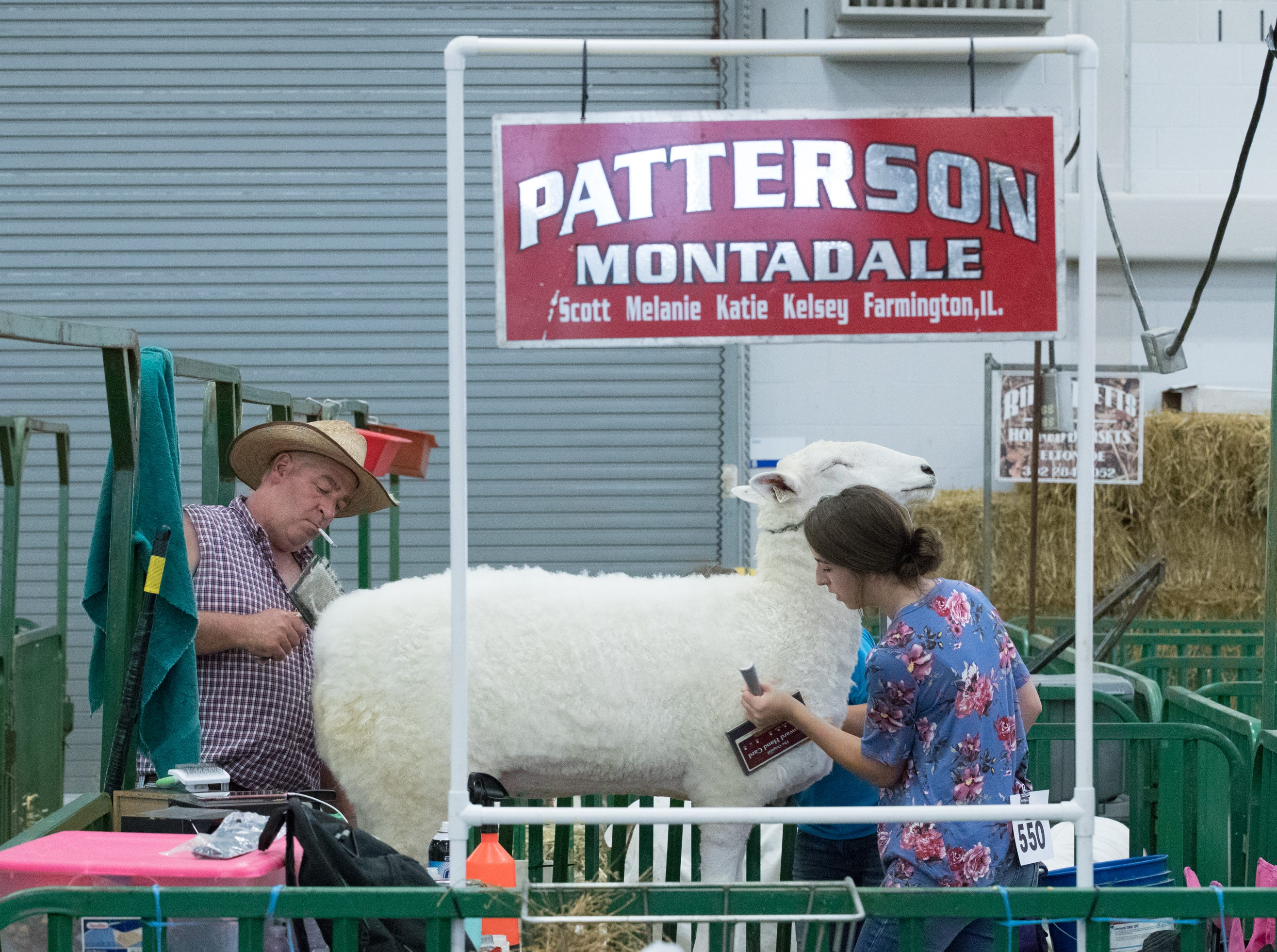 Scott and Katie Patterson card their sheep during the 25th anniversary All American Jr. Sheep Show at the Indiana State Fairgrounds on Friday, July 6, 2018. Carding is a fluffing of the sheep's wool.