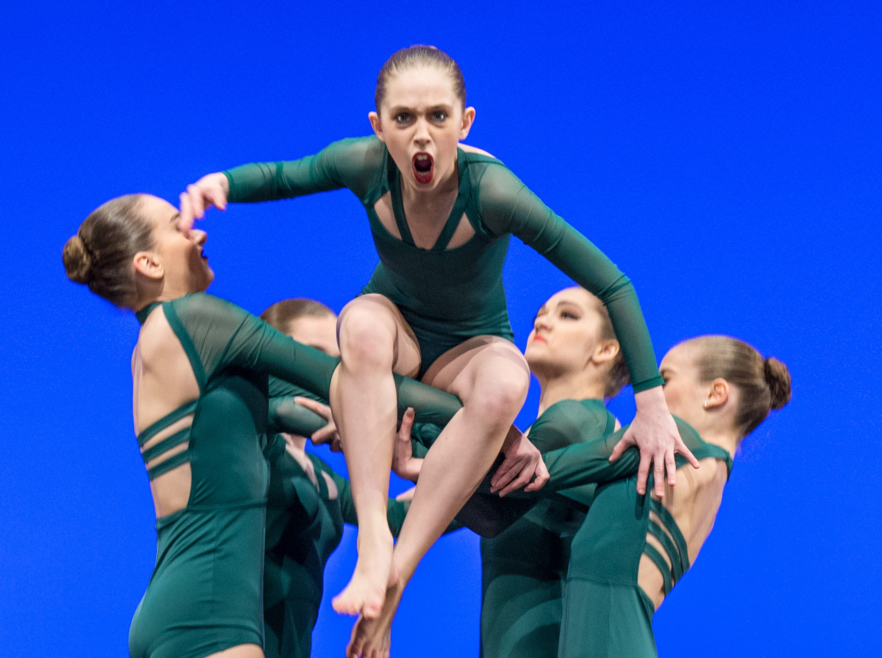 Split performs during the Youth America Grand Prix ballet regional semi-finals held at The Center for the Performing Arts in Carmel Indiana on Sunday March 18, 2018. Split members: Kera Fernstron, Angela Menchaca, Micaela Debby, Morgan Mohler, Rachel Tobler.