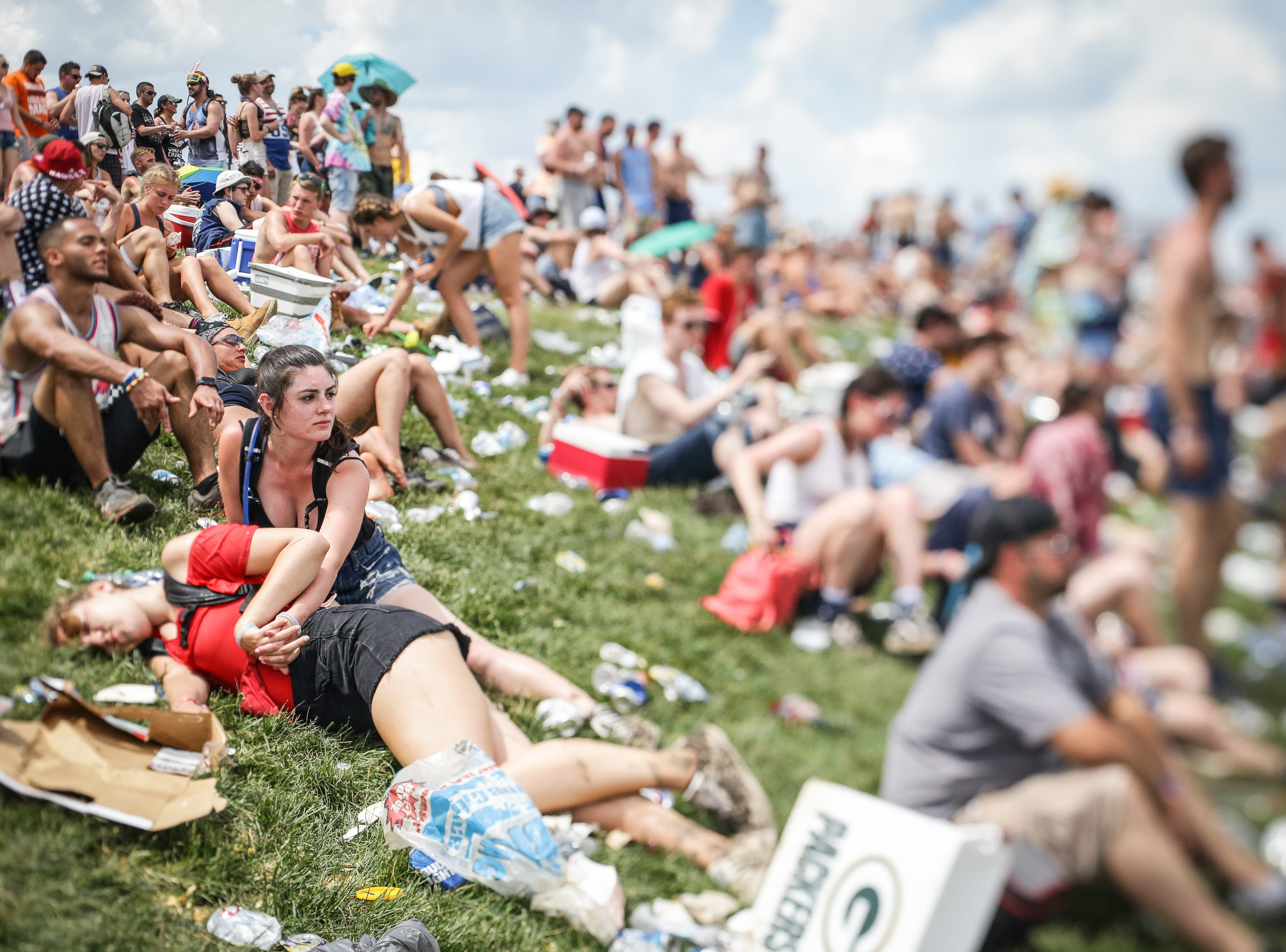 Fans enjoy a day in the Snake Pit during the 102nd running of the Indy 500 at Indianapolis Motor Speedway on Sunday, May 27, 2018.