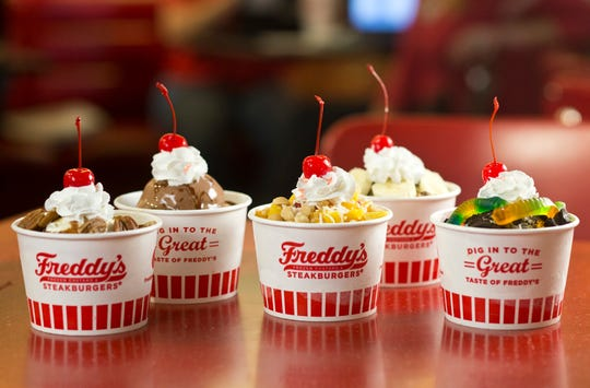 An image of select custard desserts from Freddy's. Photos provided by Freddy's Frozen Custard and Steakburgers.
