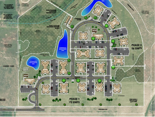 An aerial rendering of the Milton Meadows Apartment.