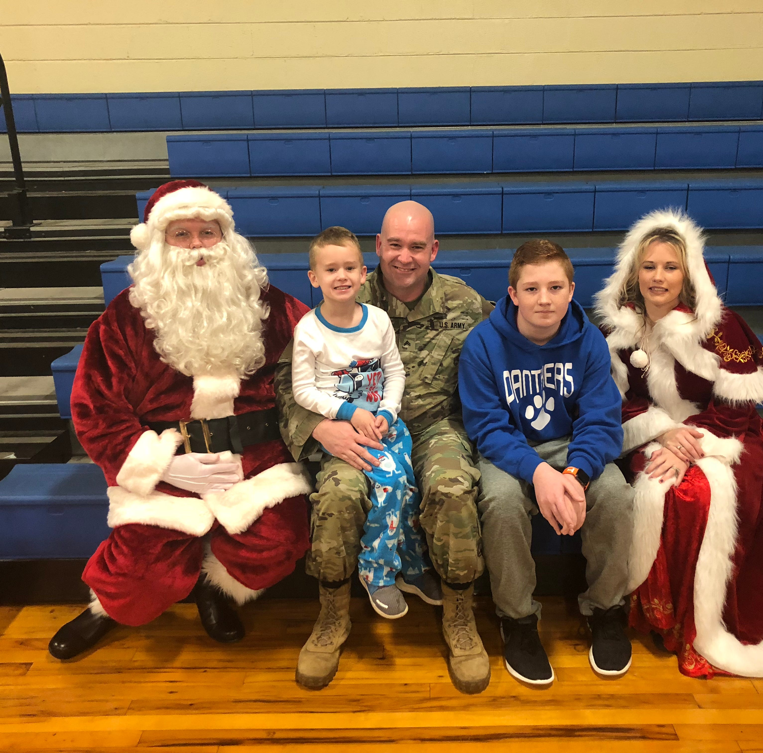 Deployed dad returns home to surprise sons at Decaturville Elementary