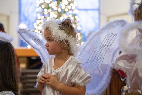 Willow Ridgeway, 4, listens intently during rehearsal for the children's Nativity pageant at Episcopal Church of the Good Samaritan in Knoxville on Sunday, Dec. 16, 2018.
