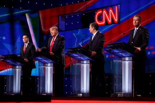 From left, 2016 Republican primary candidates Marco Rubio, Donald Trump, Ted Cruz and John Kasich during the GOP presidential primary debate at the University of Miami's Bank United Center in Coral Gables, Fla., on March 10, 2016.