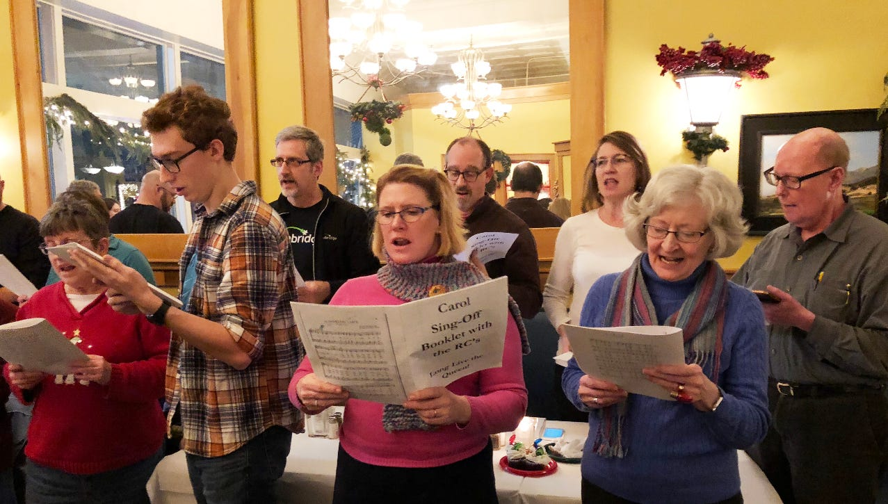 Singing carol sing off at Bistro 501.