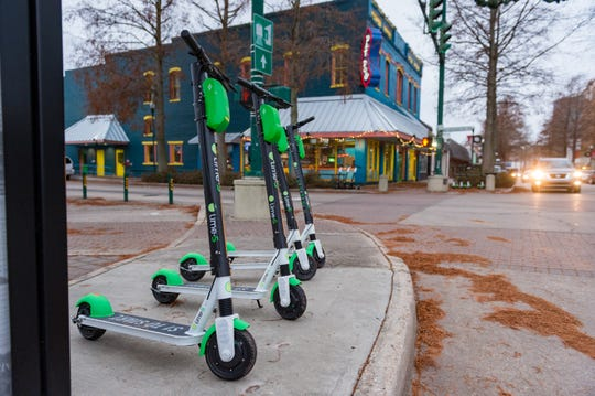 Scooter rentals in downtown Lafayette, LA. Friday, Dec. 14, 2018.