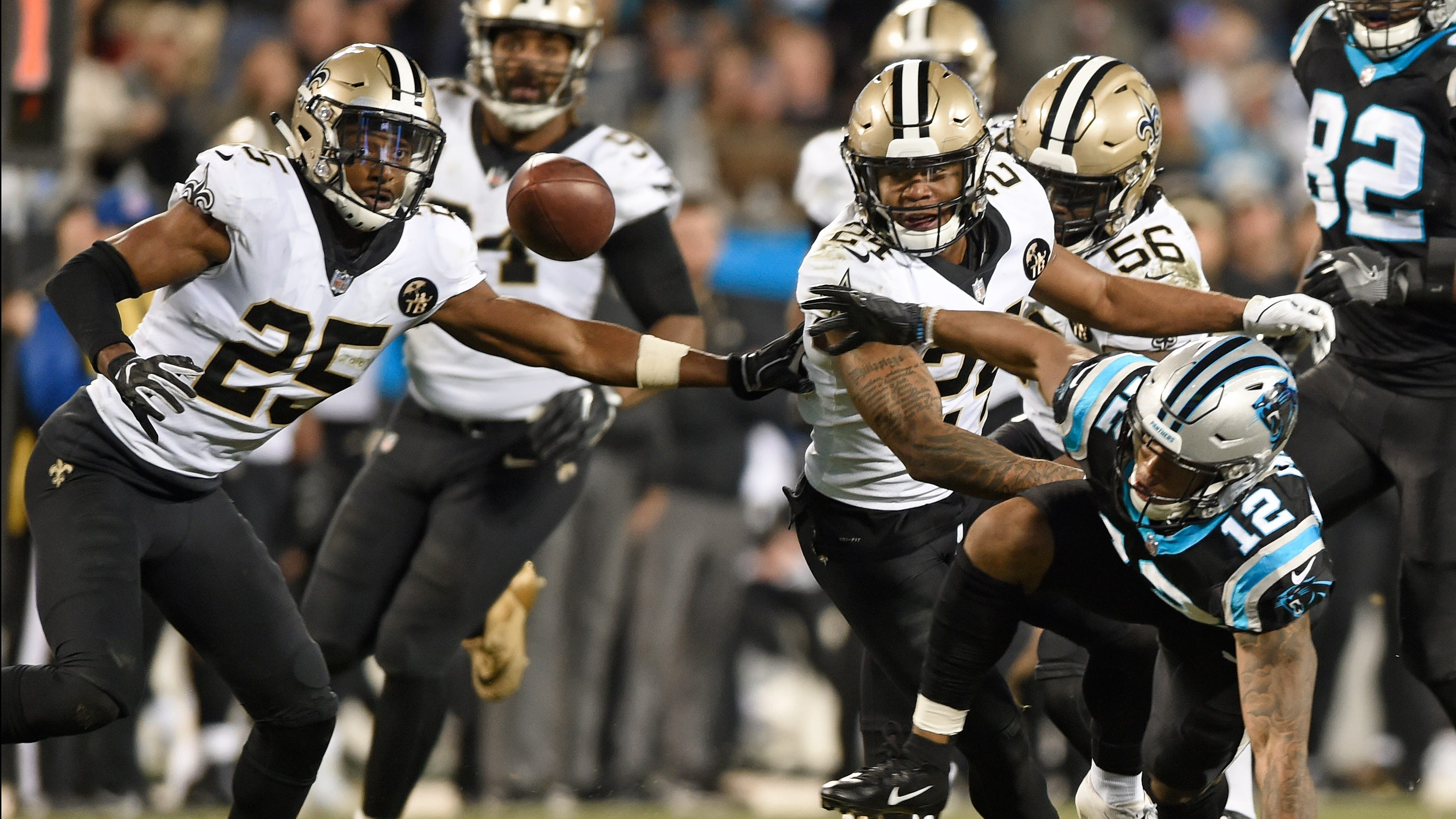 New Orleans defeated the Carolina Panthers 12-9 on Monday night to take a big step toward locking up home-field advantage in the NFC playoffs.