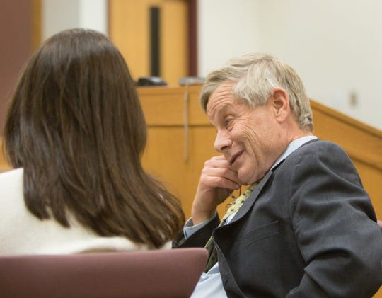 Judge Theresa Brennan talks with her attorney Larry Willey during her arraignment Tuesday, Dec. 18, 2018.