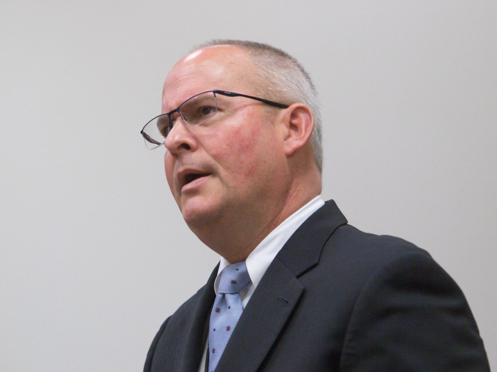 Assistant Attorney General Bill Rollstin speaks at the arraignment for Judge Theresa Brennan Tuesday, Dec. 18, 2018.
