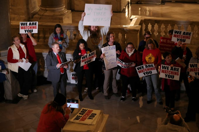 A group of Kentucky teachers sing Christmas carols with modified lyrics aimed at Gov. Matt Bevin criticizing him for calling a special session to address pension reform.  Dec. 17, 2018