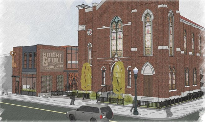 Renderings of a Louisville church in NuLu, at 600 E. Market St., that will be turned into a new restaurant. Dec. 18, 2018