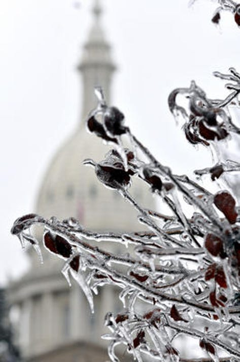Capitol During Ice Storm
