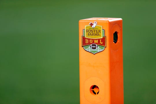 Dec 28, 2016; Santa Clara, CA, USA;  A detail of the logo on the end zone pylon during the first quarter of the Foster Farms Bowl at Levi's Stadium.