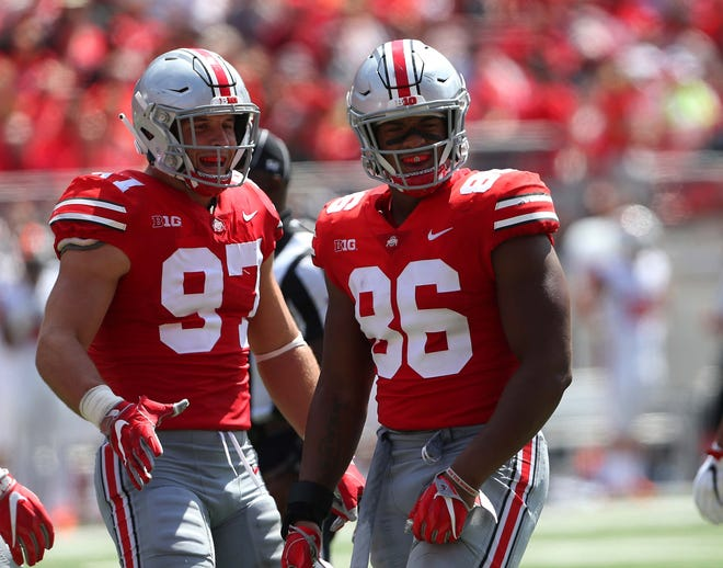 Ohio State defensive tackle Dre'Mont Jones (86) will likely join former line mate Nick Bosa (97) as an NFL first round pick, but not before playing in the Rose Bowl.