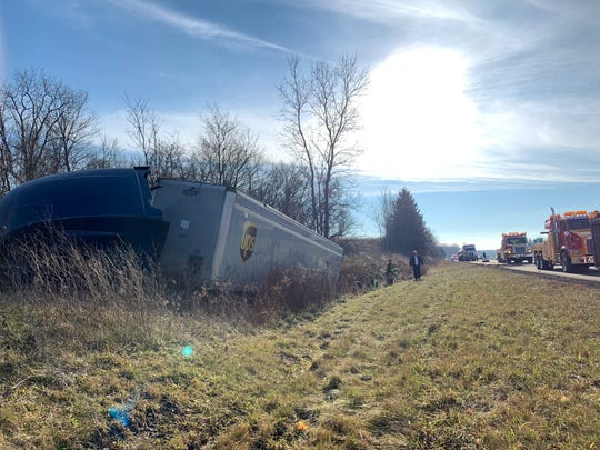 A semi-truck came to a rest in a ditch on northbound I-71 near mile marker 170 Tuesday, December 18, 2018.