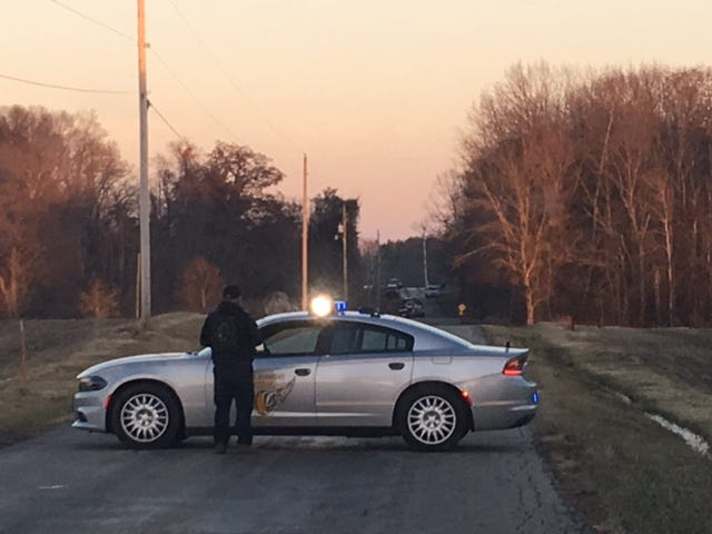 Shelby-Ganges Road is blocked off by a trooper from the Ohio State Patrol Tuesday due to a domestic disturbance.
