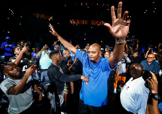 Memphis new head coach Penny Hardaway during Memphis Madness at the FedExForum Thursday evening.