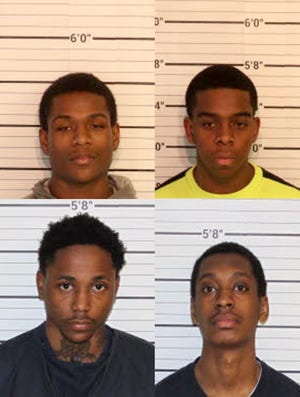 Four charged in Cordova double-murder case. Clockwise from top-left: Jai Dillard, Claude Pagou, Kentrell Spight, and Juanyai Walls.