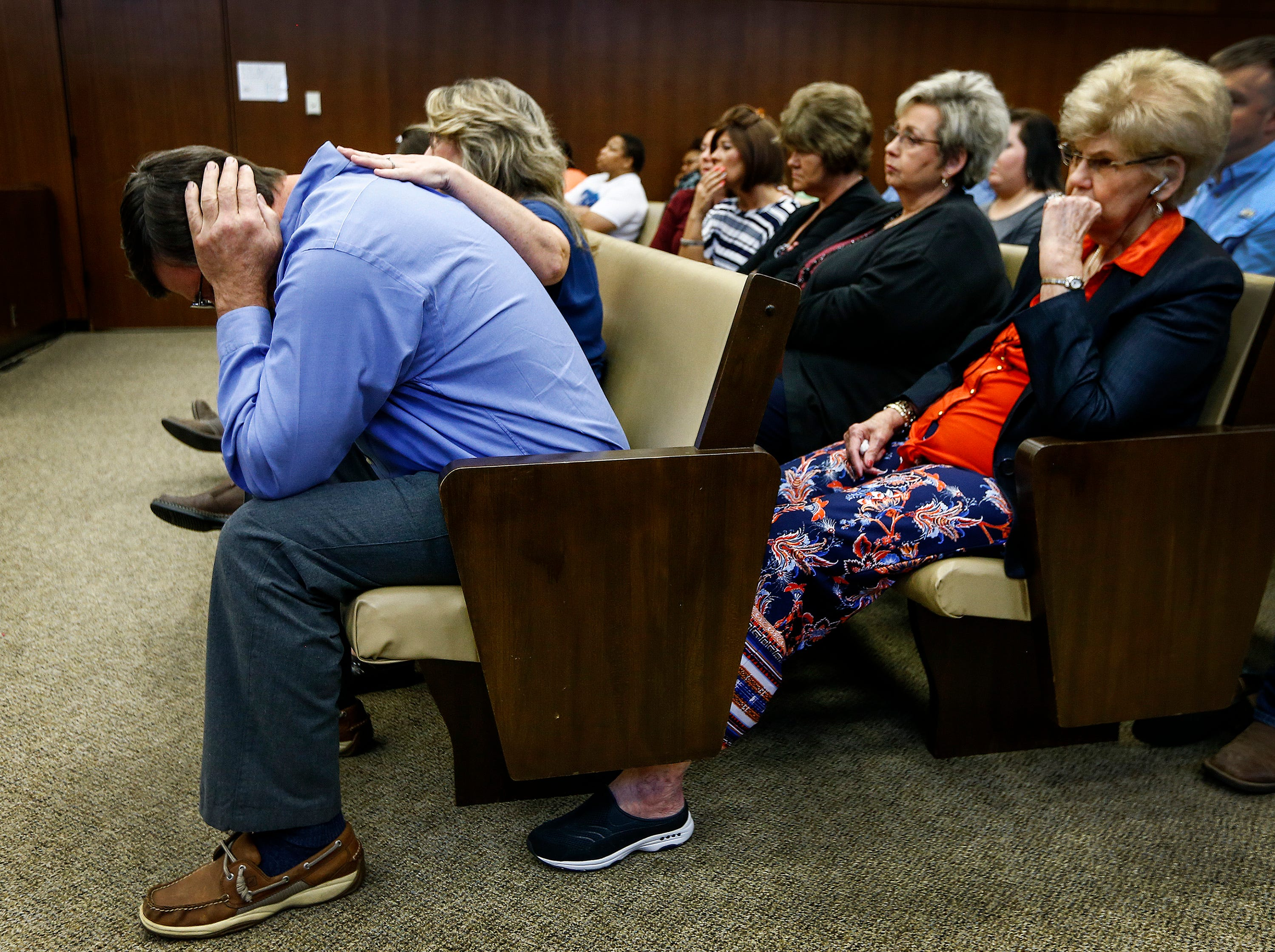 Ben Chambers, father of Jessica Chambers covers his ears during testimony on the second day of the retrial of Quinton Tellis in Batesville, Mississippi on Tuesday. Tellis is charged with burning 19-year-old Chambers to death almost three years ago on Dec. 6, 2014. Tellis has pleaded not guilty to the murder.