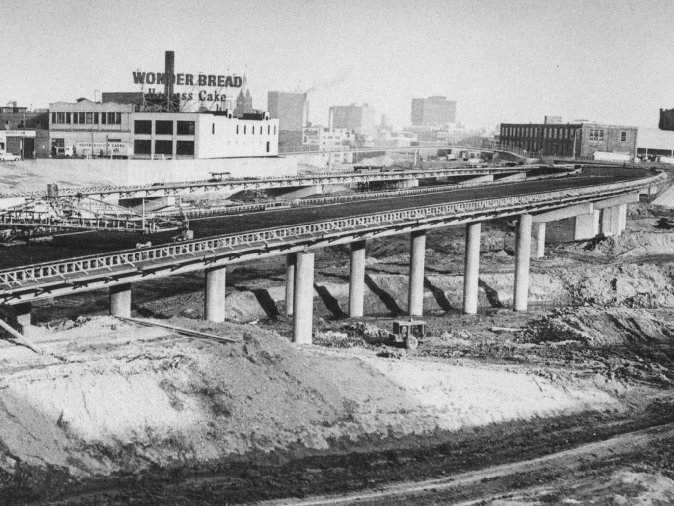 This panoramic photo shows  the state of construction of the North-South Freeway at the north end of the Marquette Interchange in April 1968. This photo was published in the April 23, 1968, Milwaukee Journal.