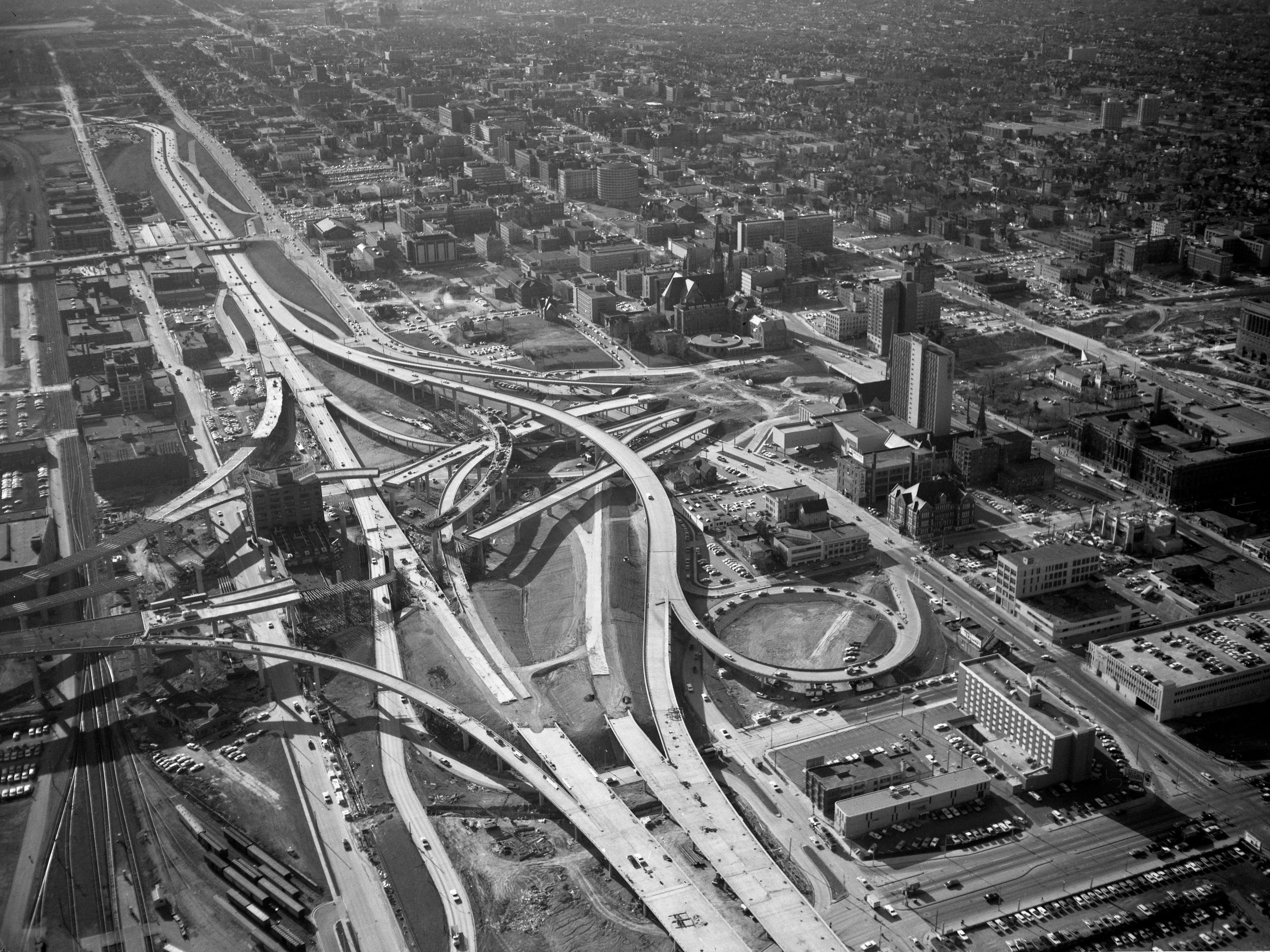 An aerial photo of the Marquette Interchange in April 1968 shows how much work was still to be done to get it completed by the end of the year. This photo was published in the April 17, 1968, Milwaukee Sentinel.