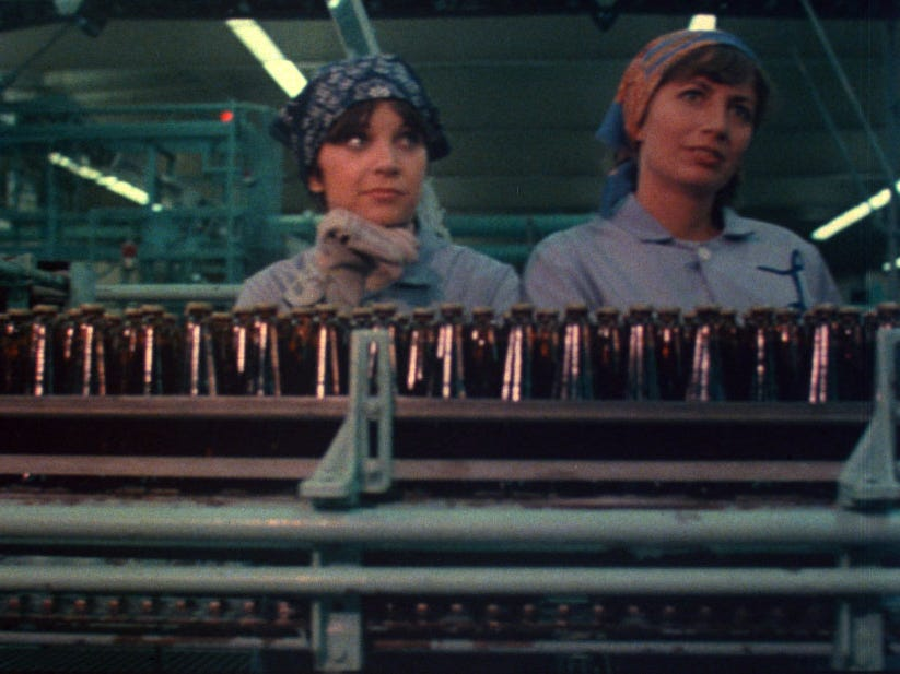 """Penny Marshall (right) and Cindy Williams daydream on the bottling line at a fictional Milwaukee brewery in the opening credits of TV's """"Laverne & Shirley."""""""