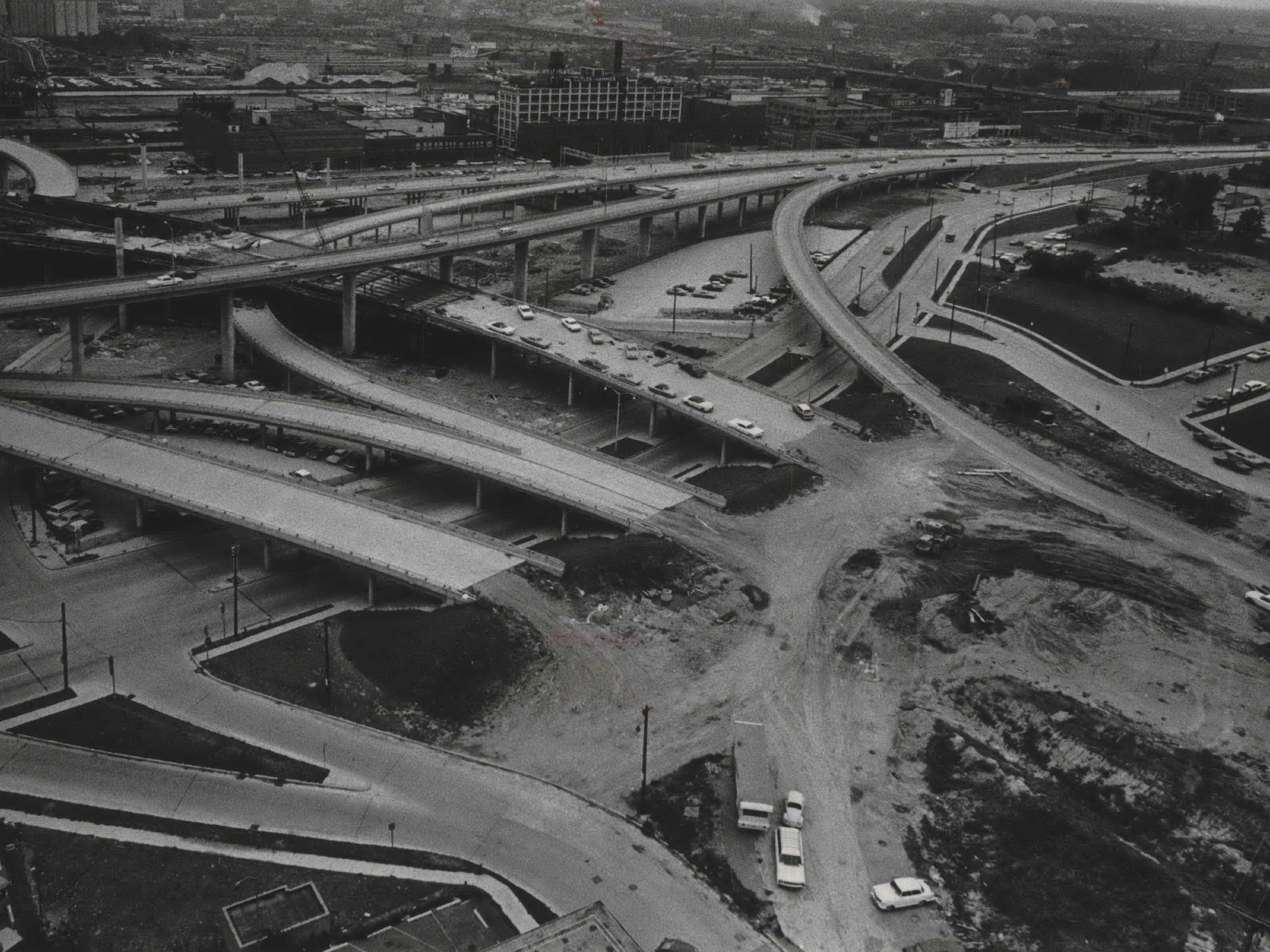 The curves and loops of the Central Interchange are coming together, as seen from the roof of the YMCA building at N. Ninth Street and Wisconsin Avenue during the summer of 1967. This photo was published in the Aug. 22, 1967, Milwaukee Journal.