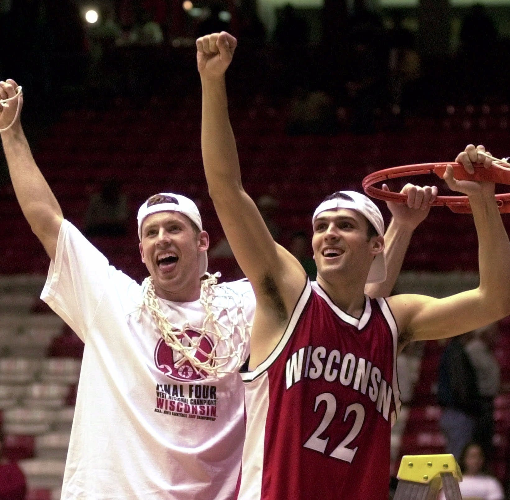 Wisconsin's Jon Bryant, left, and Mike Kelley...