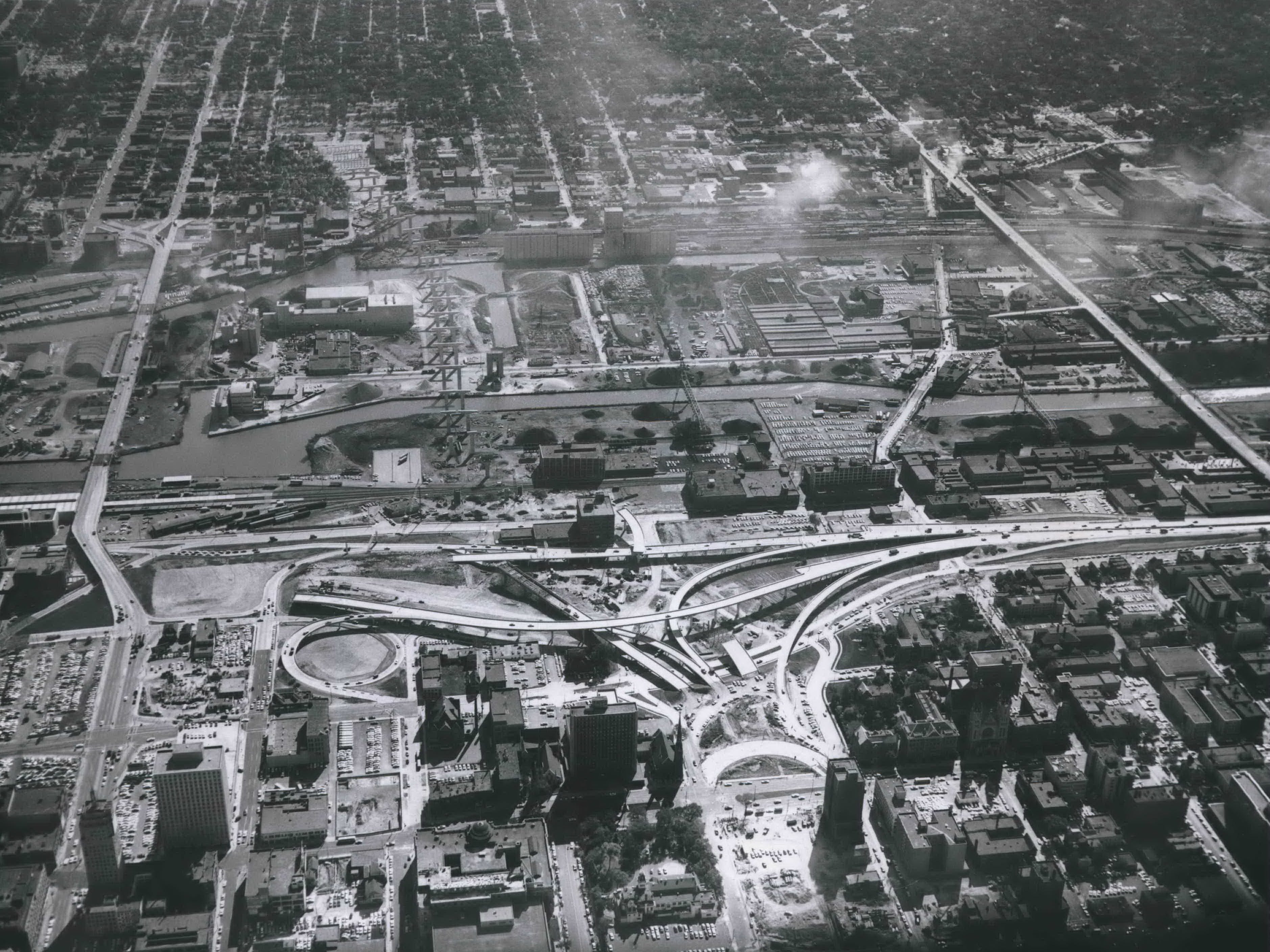 An aerial view of the Central Interchange (later the Marquette Interchange) in progress during the fall of 1966.