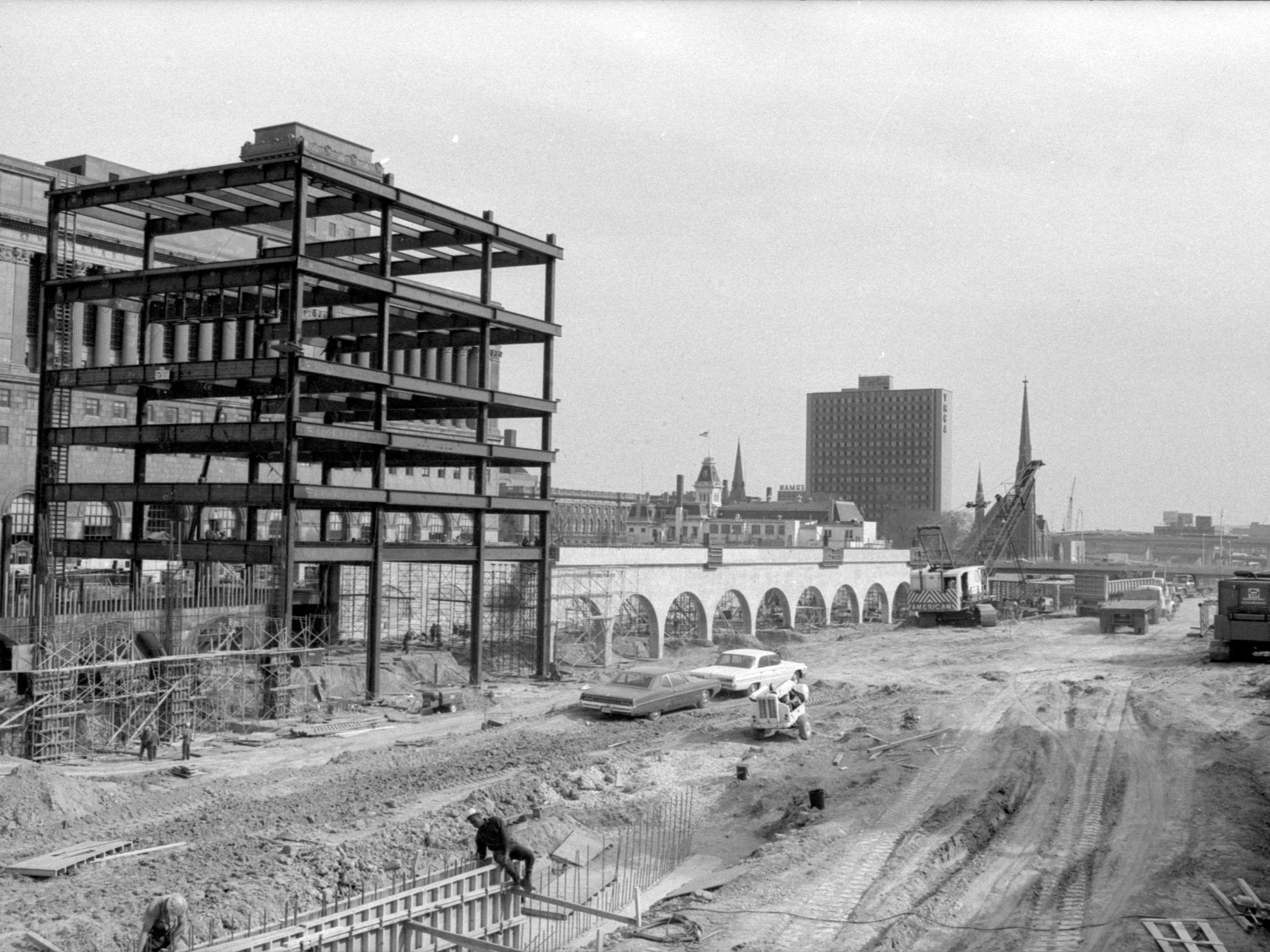 In the spring of 1968, workers still have a long way to go to get the County Courthouse Annex done in time for the opening of the North-South Freeway and the Marquette Interchange, both due open by the end of 1968.