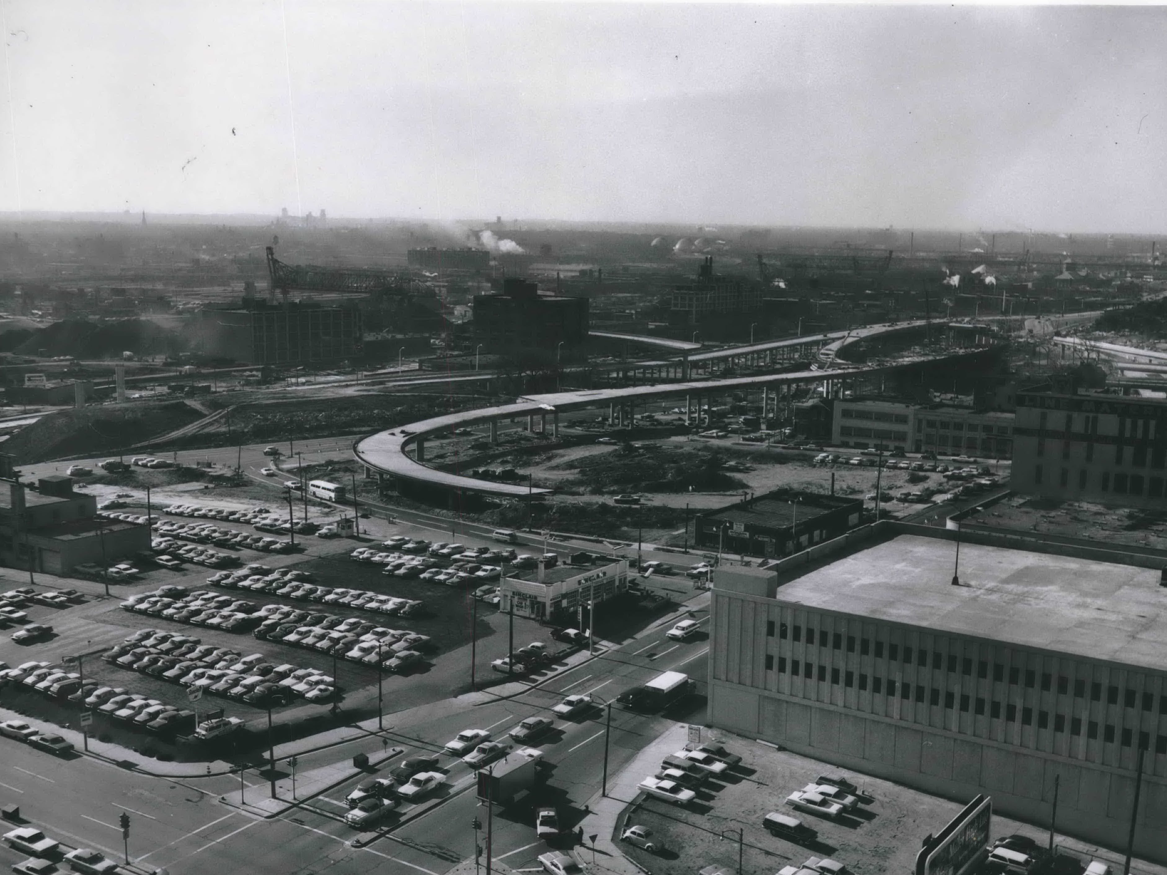 The Central Interchange, later renamed the Marquette Interchange, begins taking shape in late 1965, including the  eastbound freeway to about N. Eighth Street and off-ramps to North Seventh and Fifth streets. Another ramp will lead to North 13th Street and West St. Paul Avenue. The ramps will mean new access to downtown. This was published in the Nov. 26, 1965, Milwaukee Sentinel.
