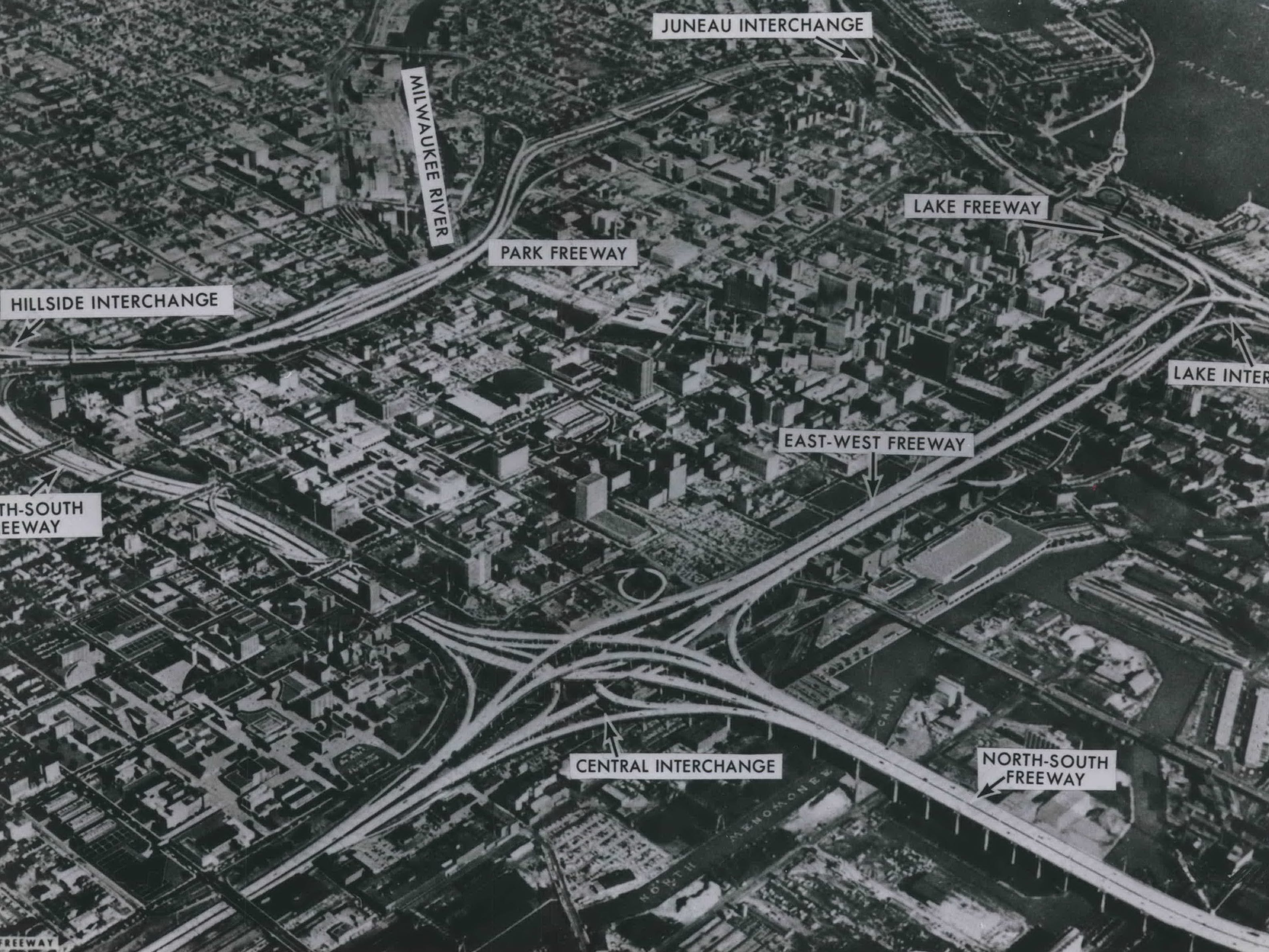 In 1965, planners envisioned Milwaukee's network of freeways as a coordinated loop. Among the freeways that weren't completed: the Park Freeway (at upper left) and the Lake Freeway (along Lake Michigan). This photo illustration, prepared for the County Expressway Commission by Howard, Needles, Tammen & Bergendoff, was published in the March 9, 1965, Milwaukee Sentinel.