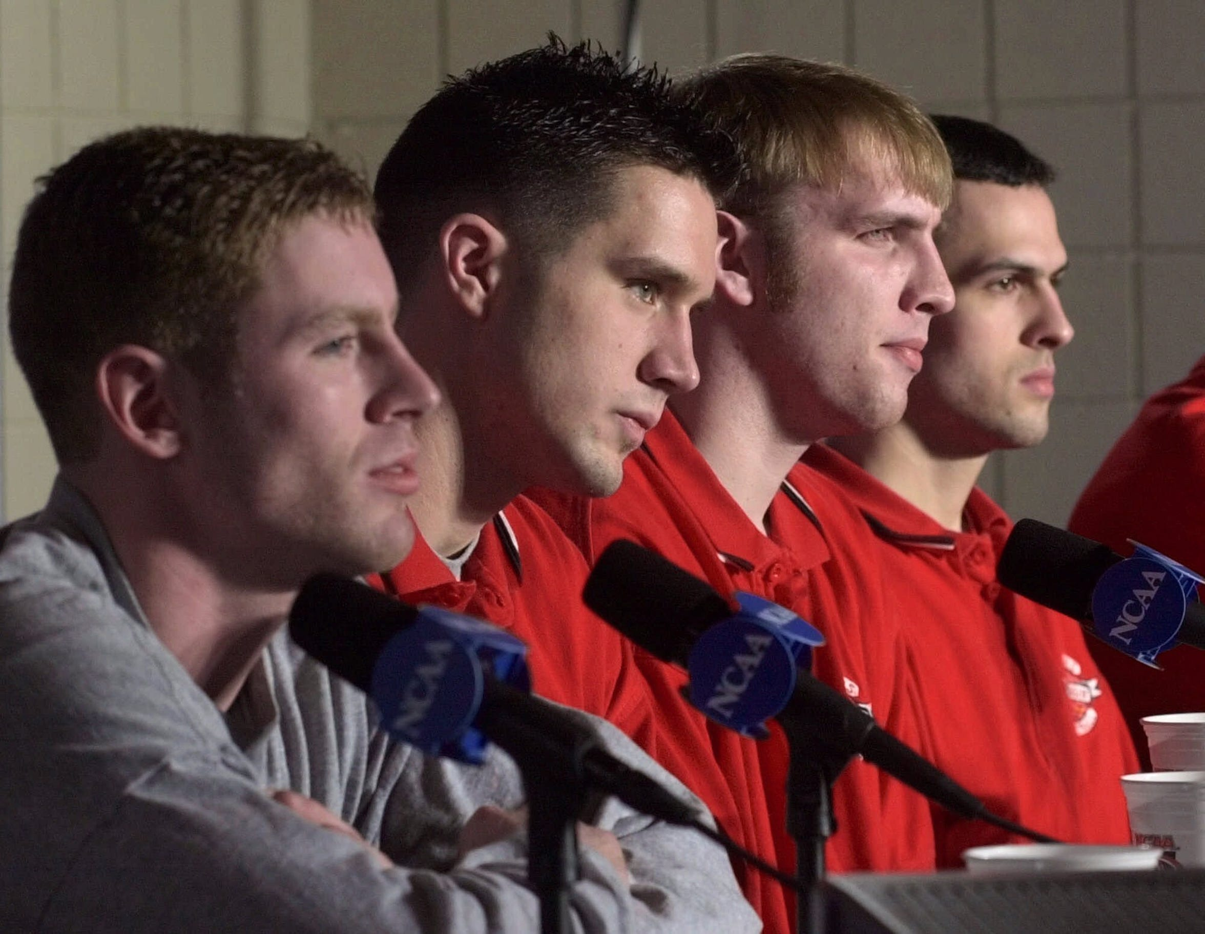 Wisconsin players, from left, Jon Bryant, Andy Kowske, Mark Vershaw and Mike Kelley, answer questions during their news conference at the NCAA West Regionals Friday, March 24, 2000, in Albuquerque.